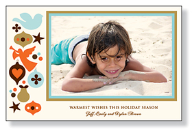 A sophisticated holiday photo card that is designed with a beige and blue border around the photo and Christmas ornaments to the left. Printed on premium 80# IVORY card stock. Includes envelopes.<br><br>Photo will need to be attached to card.
