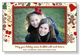 A sophisticated holiday photo card that is designed with a brown and red border around the photo and Christmas cookies around the photo. Printed on premium 80# IVORY card stock. Includes envelopes.<br><br>Photo will need to be attached to card.