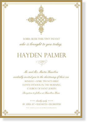 Impressions in print celebrating life with paper golden cross invitation this cards background is white and features an ornate scroll design cross gold damask pocket formal stopboris Gallery