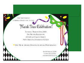 A great invitation that has all the feel of a Mardi Gras party!  This invitation has that traditional Mardi Gras mask adorned with colorful ribbons and a fun Harlequin background with bold black and white to create a more formal, yet fun invitations.  Includes green envelopes.