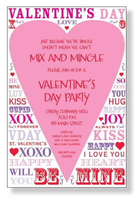 A fun Valentines day invitation that is covered with fun affectionate wording that is perfect for sending out your valentines day party plans or announce an engagement party on this fun invitation.  Comes with white envelopes.