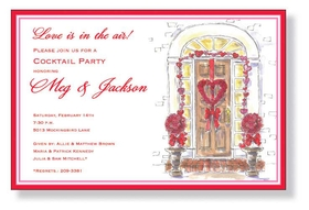 A fun Valentines day invitation that is perfect for an open house.   Created with a water color design and shows a door way that is decorated with beautiful red roses and a heart shaped wreath on the front of the door.  Includes a white envelope.