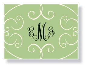 "A beautiful green scroll designer note card. This note can come Blank or Pre printed with ""thank you"".  Please indicate if you need blank or thank you.   We will ship blank if no comments are indicated."