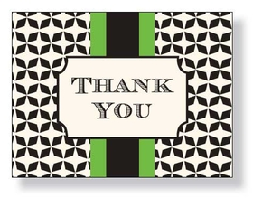 "A sophisticated style that is designed with a black design in the background and a green and black center band.  This note can come Blank or Pre printed with ""thank you"".  Please indicate if you need blank or thank you.  We will ship blank if ordered blank and did not leave comments."