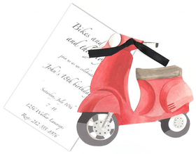 "Scooter die-cut invitation that is sure to be a hit for a birthday or just a fun themed party!   Invitation has the die cut design and a seperate 3.5 x 5"" card that is for the personalization.  Includes white envelope and a ribbon to attach the die cut to the card.  Assembly required"