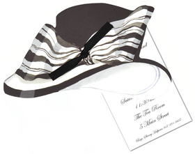 "A great invitation for a ladies luncheon or tea party!  This invitation is designed with a stylish black hat and a large black and white ribbon wrapped around it.  the Invitation has the die cut design and a seperate 3.5 x 5"" card that is for the personalization.  Includes white envelope and a black ribbon to attach the die cut to the card.  Assembly required"