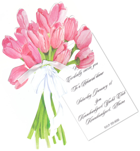 "This beautiful floral invitation is designed as a die-cut bouquet of tulips that are attached to a separate 3.5"" x 5"" card that is personalized.  Includes white envelope and a white ribbon to attach the die-cut to the card. Perfect for spring time celebration or wedding shower.  Assembly required."