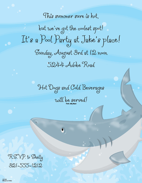 What a fun paper for any kids swim party for the hot days of summer!   This paper is designed with a fun giant shark swimming in the deep blue and makes a great birthday pool party paper. Colored envelopes are available but are sold separately.