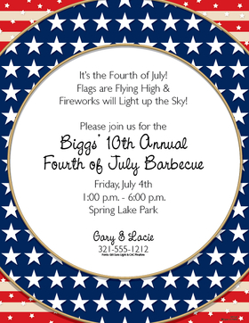 This beautiful patriotic paper is perfect for your next fourth of July gathering.   Designed with a red and white striped background and a circular blue and stars border with a white center for your personalization.Colored envelopes are available but are sold separately.<br><br>