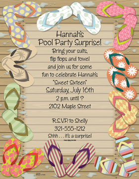 What better way to celebrate the summer season than a pool party!  This laser paper is bordered with fun and colorful flip flops.   Makes a great pool party announcement.  Colored envelopes are available, sold separately.