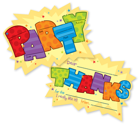 A fun party invitations and thank you cards combination wet.  party fill in cards invitation and thank you card set that are created to let you fill in all the party time essentials.  both include a colorful envelope that coordinates with the invitation and thank you.