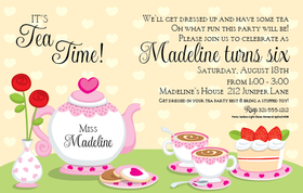 This fun tea party invitation is perfect ofr the little princess that would love to gather friends for some tea.   Designed with This invitation comes with a light yellow and white polka dot background and fun pink and white tea set that is topped with cookies and cake along with heaping tea cups!   Includes white envelopes.