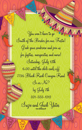 Its fiesta time!   This fun invitation is designed with a big sombrero on the side and decorated with traditional colorful paper banners along the top and bottom.   This invitation is perfect for any Cinco De Mayo party or fiesta-themed celebration. Includes white envelope.  Available personalized only.