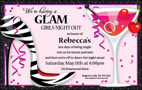 She said yes and now its time to plan the girls night out!   This invitation is perfect for a bachelorette party!  Designed with a fun Zebra high heel on the side and a martini on the other that shows a diamond ring floating at the bottom.  Invitations Includes white envelopes.