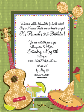 Margarita Fiesta Invitation - Cinco De Mayo! Perfect invitation to send out your fiesta time announcement!  This invitation has  a green border and a big guitar on the side that is accompanied by refreshing margaritas and some maracas and sombrero.