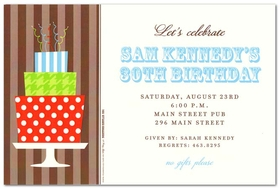 Plan the perfect birthday party for him with this fun and sophisticated invitation.   Designed with a brown striped  background band to the left and printed on a cream card stock this invitation will be a hit.  Includes a cream envelope. <br><br>