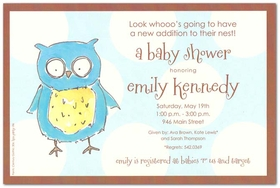 Super cute!  This new baby owl invitation is perfect for a baby shower.  Designed with a cute baby owl on the front and a pastel blue and and ivory polka dot background.  Includes ivory envelopes. <br>Includes ivory envelope.