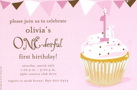 This beautiful light pink invitation features a cupcake with 1 candle.  Pink with brown accents.  Available blank or personalized.  Includes white envelope.