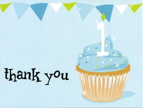 This light blue thank you notecard has a yummy cupcake with 1 candle and top banner border.  Can be blank or personalized. Includes white envelope.