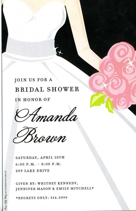 The bride is wearing a flowing white dress and holding a beautiful pink bouquet in this elegant invitation. Available blank or personalized. Includes a white envelope. <br>