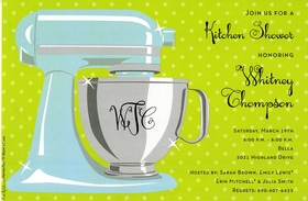 A powder-blue retro mixer accents a bright lime green backdrop, with room on the mixing bowl for a monogram!  Available blank or personalized. Includes a white envelope. <br>