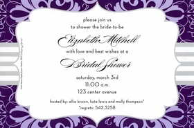 This Elegant Invitation Offers A Purple Brocade Border With Accenting Grey  Stripes, And Gray Frame