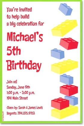 A bright green border outlines red, blue and yellow building blocks that any boy would love!  Available blank or personalized. Includes white envelope.