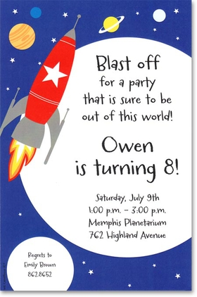 A dark blue sky with a bright red rocket soaring through the planets and stars.  Available blank or personalized. Includes white envelope.