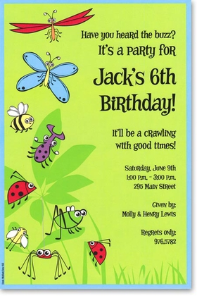 A light green background highlights fun and brightly colored bugs and a blue border.  Available blank or personalized. Includes white envelope.