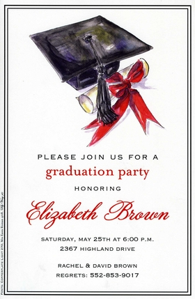 This elegant graduation invitation features a black cap and tassel with a scroll tied with a bright red bow.  Perfect for graduation invitations or announcements.  Available blank or personalized. Includes ivory envelope.