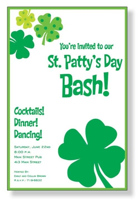 Giant four leaf clovers! This great invitation is Irish to a tee, with a white background and jumbo shamrocks.  What a fun way to celebrate St. Patricks Day!<p>A trendy St. Patricks Day design printed only on premium fine quality 80 lb. card stock. Available either blank or personalized. Includes white envelope.</p>