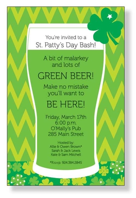 A great invitation for St. Pattys day!  This bold green beer mug with a four leave clover on the side, is accented with a fun multi gree clover base and a zig zag green design on the background.  Includes white envelope.</p>