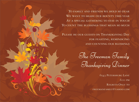 A beautiful fall invitation that is designed with a brown background and has a bouquet of fall colored leaves that are elegantly placed on the side with bold autumn colors.  Includes white envelopes.  Not available blank. <br><br>Includes white envelope.</p>