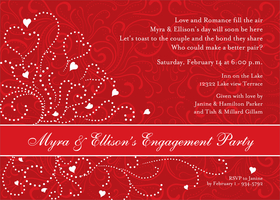 A beautiful invitation that is designed with a red background and has a scroll design and a white heart pattern to the side.  A Red and white band that goes across the lower half that can be personalized.  Perfect for a valentines day engagement or wedding. <br>Includes white envelope.</p>