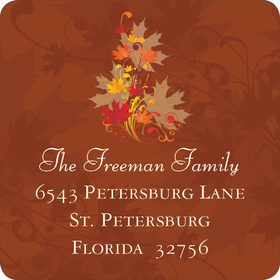 This beautiful address label is created with a brown background and a colorful leaf design in the center.  perfect label to complete your fall party invitation!
