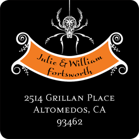 The perfect compliment to your Halloween invitations!  This address Label is designed with a spider hanging from the top and a bright orange area for your family name.  Available personalized only.