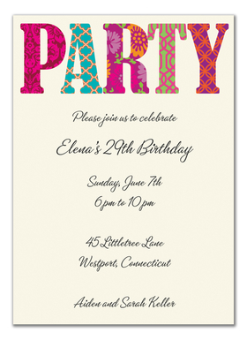This eye-catching invitation from the Bonnie Marcus Collection is perfect for any fun celebration.  These invitations are expertly printed on luxurious warm white heavyweight paper (recycled and FSC certified).  A portion of the proceeds from the sale of this product is donated to breast cancer research and education. Warm white envelopes are included.