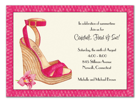 This chic party invitation from the Bonnie Marcus Collection features stylish sandal perfect for any fashionista to celebrate the night away.  These invitations are expertly printed on luxurious warm white heavyweight paper (recycled and FSC certified). A portion of the proceeds from the sale of this product is donated to breast cancer research and education. Warm white envelopes are included.