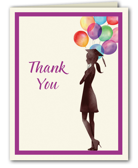 "This fun graduation thank you note from the Bonnie Marcus Collection features the silhouette of a proud graduate holding beautiful balloons. ""Thank You"" is printed next to the graduate.  These thank you notes are expertly printed on luxurious warm white heavyweight paper (recycled and FSC certified). A portion of the proceeds from the sale of this product is donated to breast cancer research and education. Warm white envelopes are included."