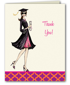 "This fashionable graduation thank you note from the Bonnie Marcus Collection features a proud graduate holding her diploma. ""Thank You"" is printed to the right of the grad. These thank you notes are expertly printed on luxurious warm white heavyweight paper (recycled and FSC certified). A portion of the proceeds from the sale of this product is donated to breast cancer research and education. Warm white envelopes are included."