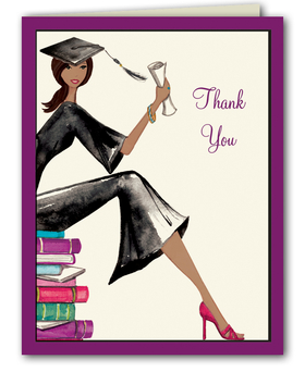 "This fashionable graduation thank you note from the Bonnie Marcus Collection features a stylish graduate proudly holding her diploma. ""Thank You"" is printed to the right of the grad. These thank you notes are expertly printed on luxurious warm white heavyweight paper (recycled and FSC certified). A portion of the proceeds from the sale of this product is donated to breast cancer research and education. Warm white envelopes are included."