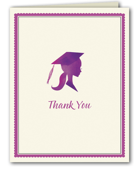 This beautiful graduation thank you note from the Bonnie Marcus Collection features a silhouette portrait of a lovely graduate.  These thank you notes are expertly printed on luxurious warm white heavyweight paper (recycled and FSC certified). A portion of the proceeds from the sale of this product is donated to breast cancer research and education. Warm white envelopes are included.