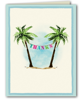 This fun thank you note from the Bonnie Marcus Collection features two palm trees and a colorful banner expressing the senders gratitude. These thank you notes are expertly printed on luxurious warm white heavyweight paper (recycled and FSC certified).  A portion of the proceeds from the sale of this product is donated to breast cancer research and education. Warm white envelopes are included.