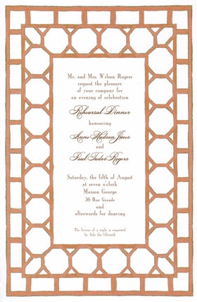This classic invitation features a peach-colored bamboo patterned border on a sturdy 80# cardstock.  Available blank or personalized.  Includes white envelopes.