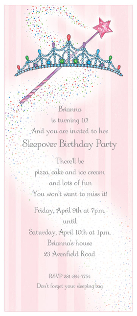 Discontinued<br><br>A pretty princess requires a Pretty Tiara for you next royal celebration! this invitation is pretty in pink with a tiara and wand on the top and the background is pink with a swirl of magical dust printed across the invitation.  Perfect for a princess party, or a little girls Fairy themed party.