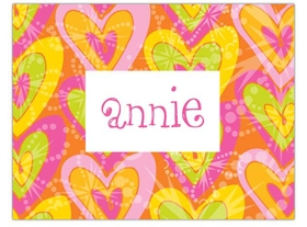 Colorful heart design  created with pink, orange and lime to make a bold and fun message.   Can be used as a thank you or just writing a quick note for friends or family. Includes a white envelope.