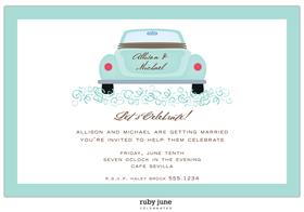 This invitation is a great way to send your bridal shower announcement!  An aqua border and car in the center that can be personalized with his and her names!  Includes a white envelope. <br>  Incl