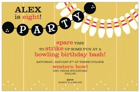 This fun bowling invitation is designed with a bowling alley background look and streamers that are designed like bowling balls and pins.  This makes a great invitation for a kids or adults bowling party or company event. Includes a white envelope. <br>