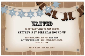 Get ready for a western party! This invitation is decorated with banners of sheriff stars and cowboy boots against a wanted poster background. Great for birthdays and barbecues! Includes a white envelope. <br>