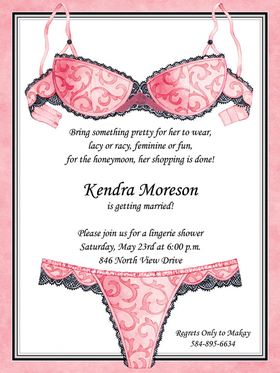 Invitations BRIDAL LINGERIE SHOWER BACHELORETTE Lingerie Shower